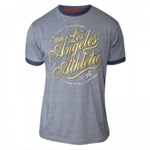 IRVIN-D555 'Los Angeles Athletic' Duży T-shirt Błękitny