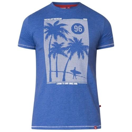 5ca348d5754e3f KANSAS-D555 Duży T-shirt Męski Błękitny biggie.pl KS160212 Blue Marl